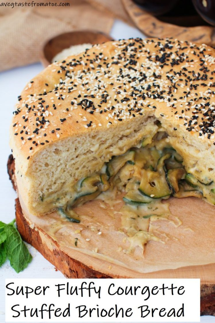 Super Fluffy Courgette Stuffed Brioche Bread image for pinterest