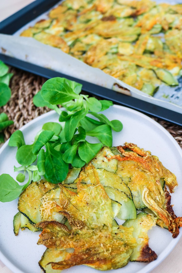 Courgette and Blossom Bake on serving plate