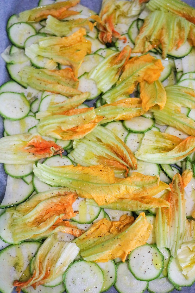 Courgette and Blossom Bake layers