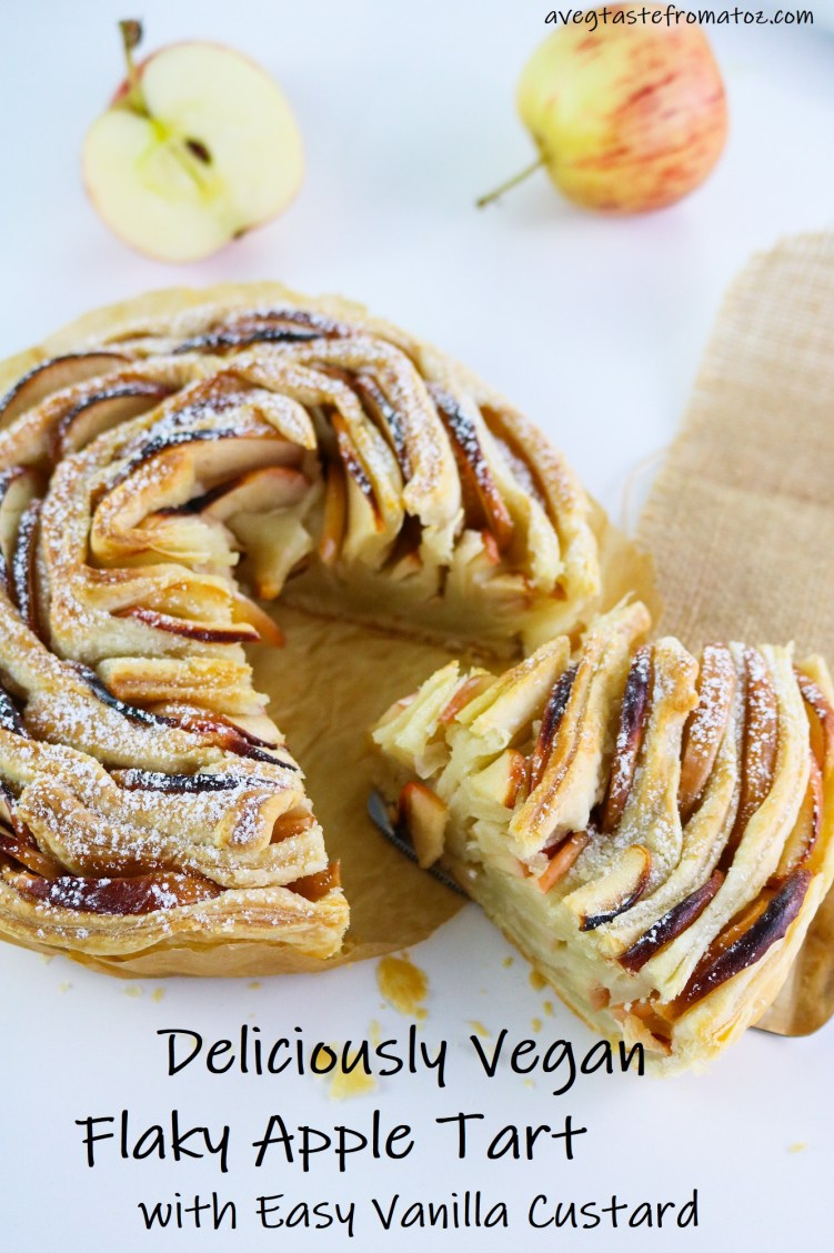 vegan flaky apple tart - image for pinterest