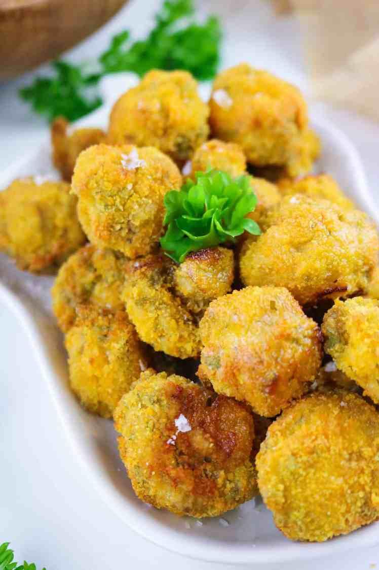Vegan Garlic Mushrooms with Air Fryer close up top