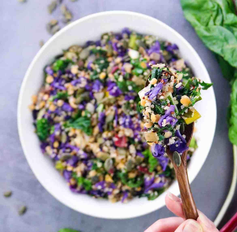 One Pot Rainbow Quinoa & Lentil Bowl