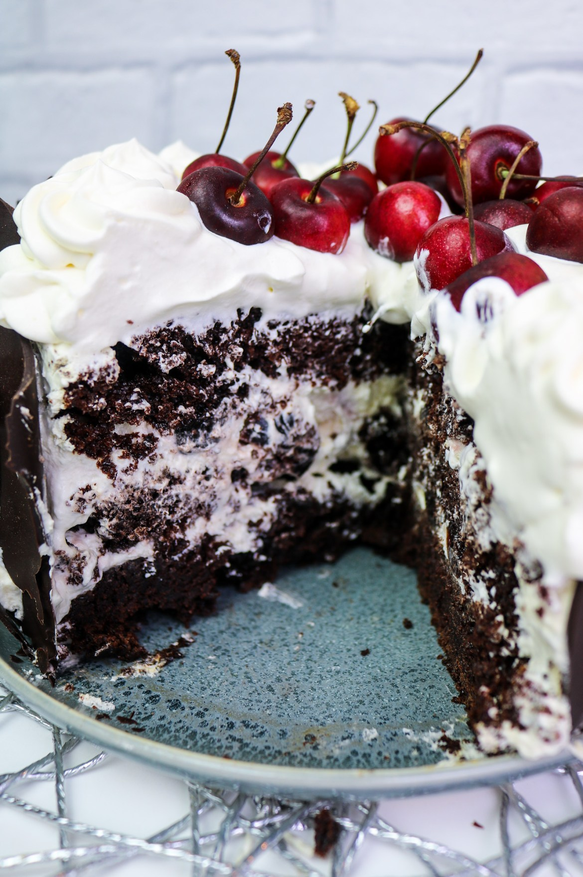 inside vegan black forest cake
