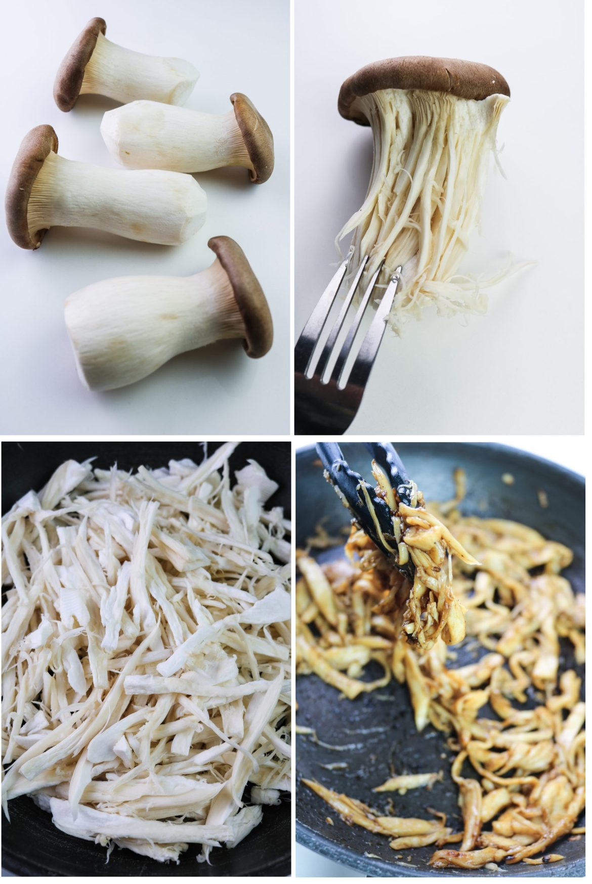 steps to prepare the king oyster mushrooms shreds