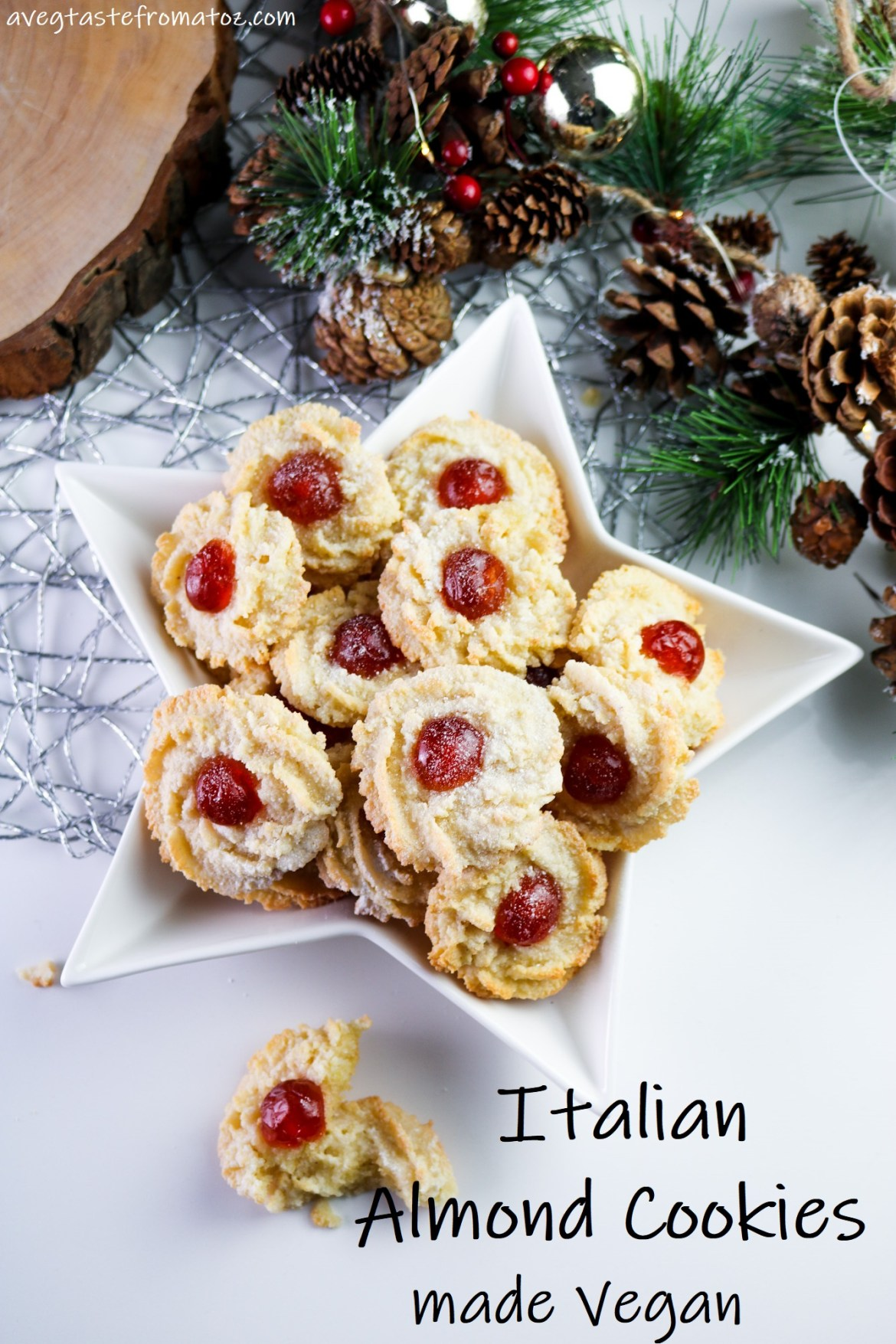 These Italian Almond Cookies are fragrant, soft, sweet and so scrumptious! This 100% vegan friendly version has nothing to envy the traditional one, I promise. #christmas #cookies #holidays #vegan #vegetarian #eggfree #aquafaba #cherries #glacé #italiancookies #traditions #festive #soft #vegancookies