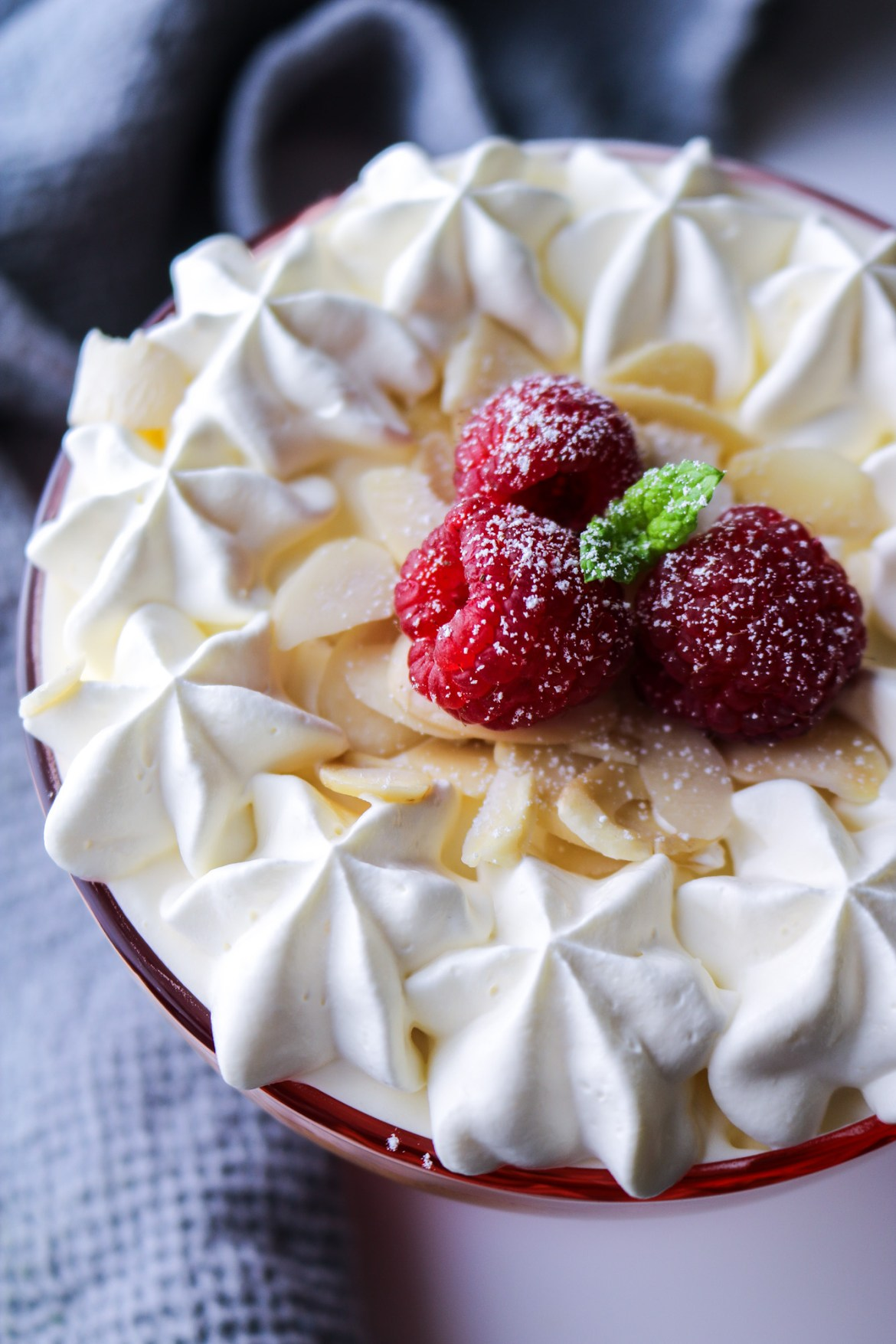 Vegan Raspberry Trifle from the top