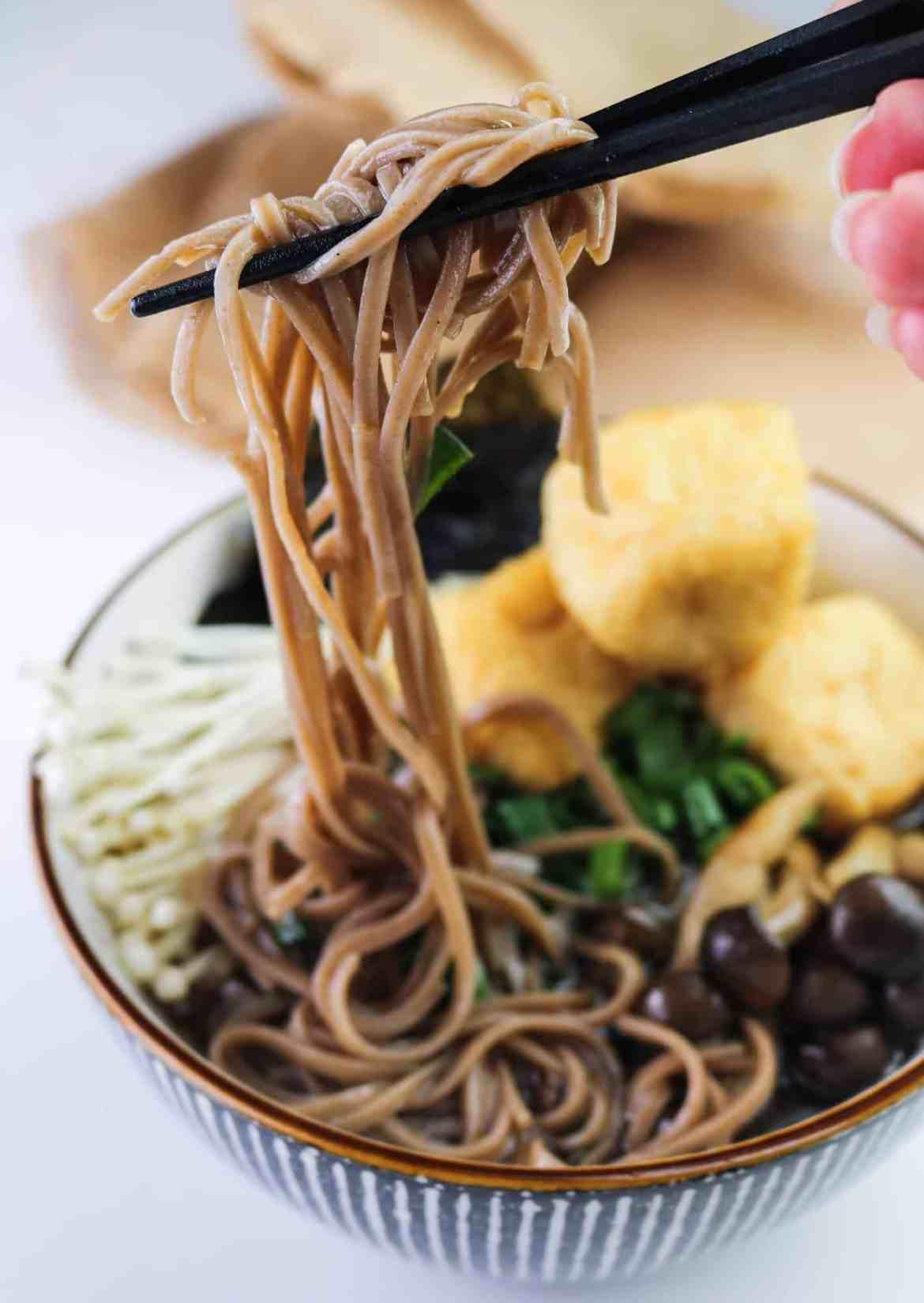 Best Vegan Mushroom Soba Ramen chopsticks