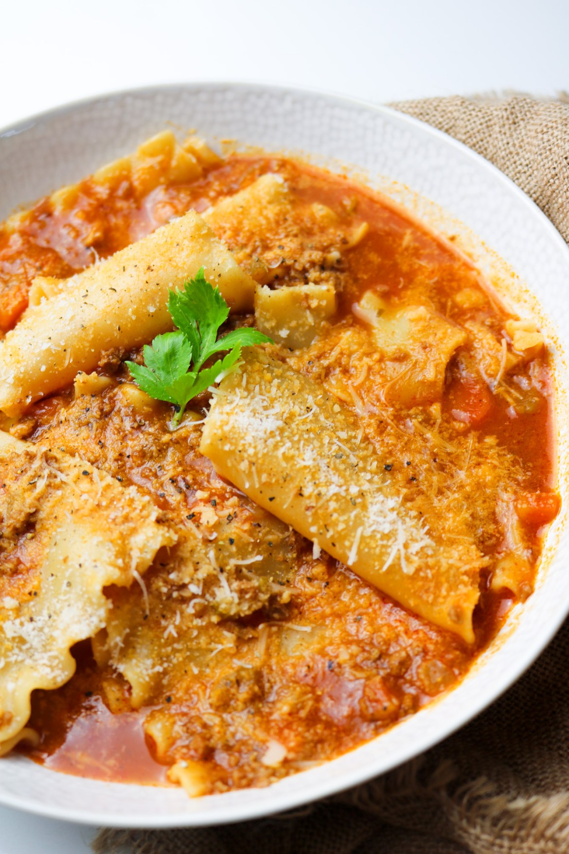 the best vegan lasagna soup in a bowl