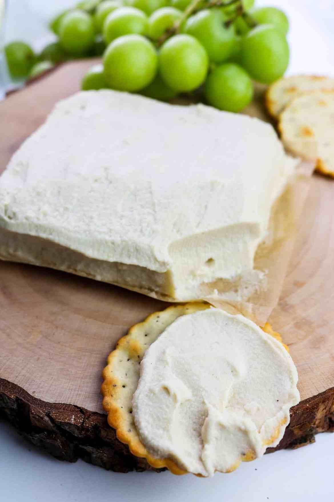 vegan overnight fermented cream cheese on cracker