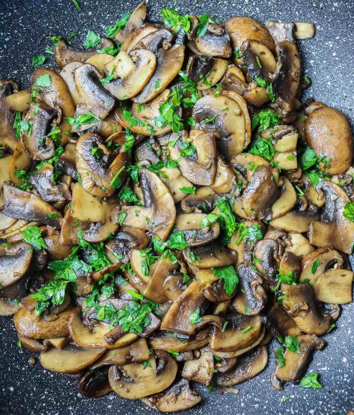 sautéed cremini mushrooms with fresh parsley