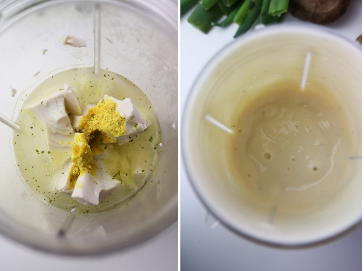 silken tofu mix in a blender cup before and after blending