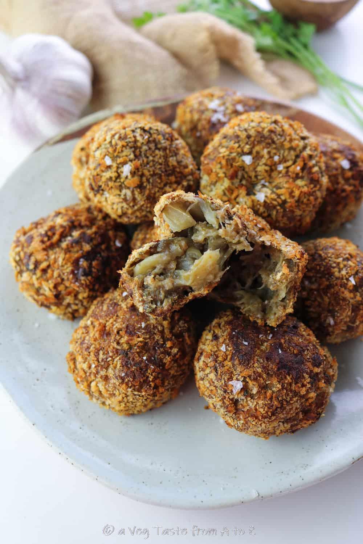 aubergine meatballs inside