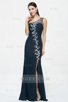 Dark Navy Sleeveless Beading Slit Long Chiffon Evening Dress
