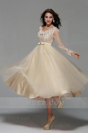 Vintage Long Sleeve Lace Tea Length A-Line Champagne Tulle Short Homecoming Dress