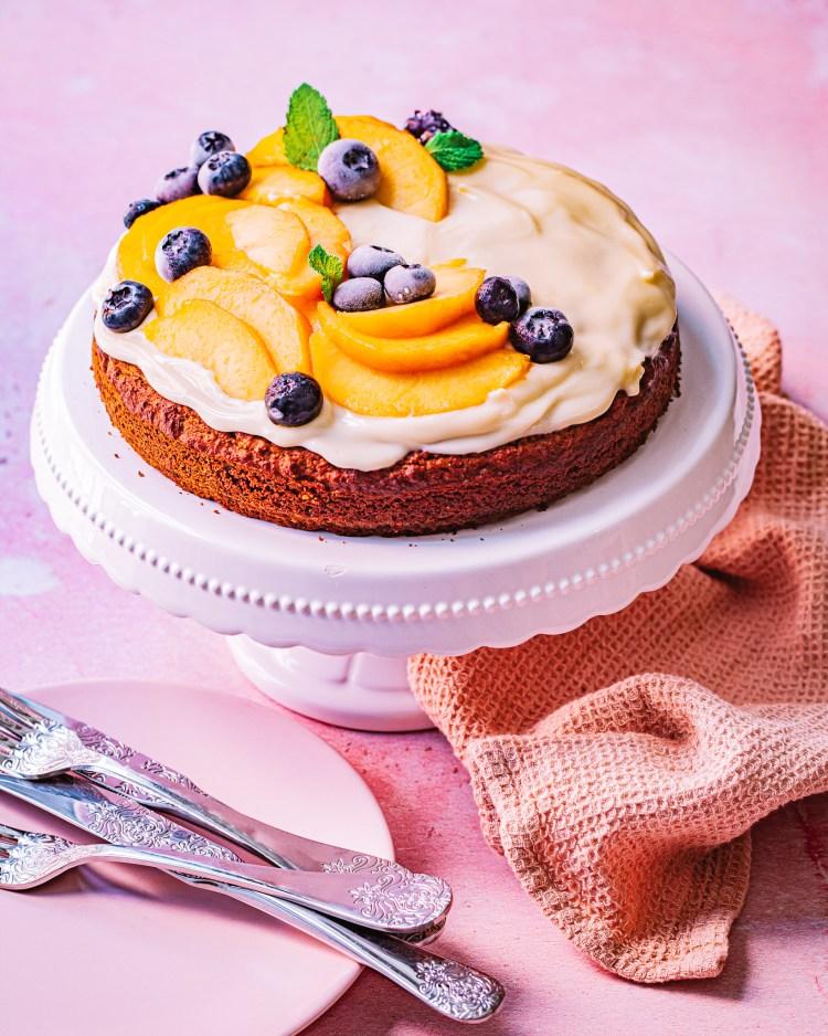 Tarta de naranja con crema de mascarpone y miel