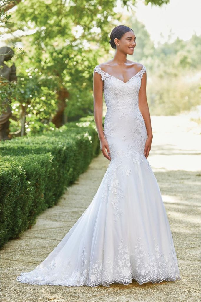 Off the shoulder fitted wedding dress