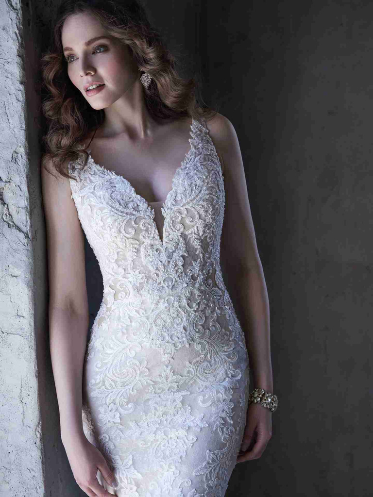deep v neckline bridal gown