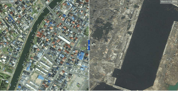 Japão, fotografias do antes e depois
