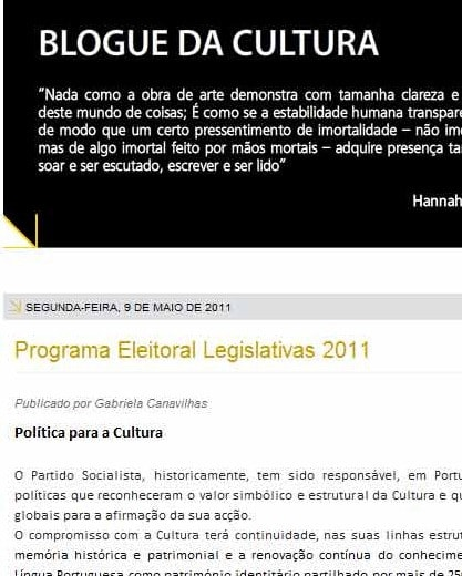 blogue da cultura - fecho - programa do PS