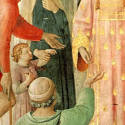 Fra Angelico, S. Lourenço esmolando - fragmento