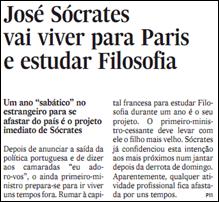 EXPRESSO: José Sócrates vai viver para Paris e estudar Filosofia