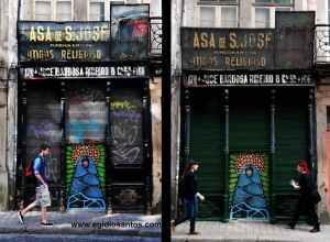Os funcionários da Câmara Municipal do Porto, na rua das Flores, limparam os riscos mas preservaram o graffiti de Hazul. Fotografia de Egídio Santos