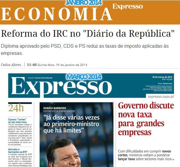 IRC e taxas