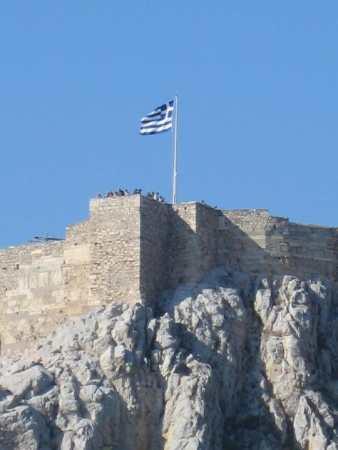 Grécia, Atenas, vista da janela do meu quarto, em Agosto de 2011. A Acrópole.