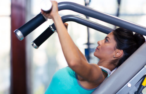 Portrait of a fitness woman workout in gym