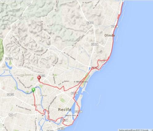 The route, Recife - Olinda
