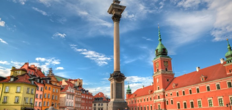 Old town in Warsaw, Poland. The Royal Castle and Sigismund's Column called Kolumna Zygmunta