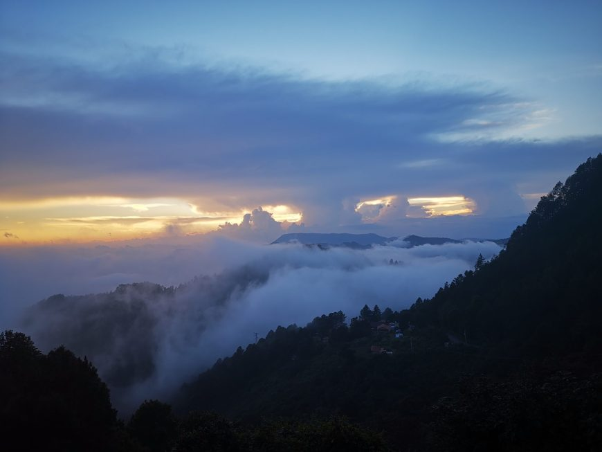San josé del Pacífico - drone view clouds and sunset