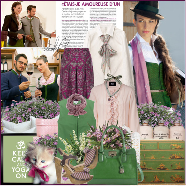 Wearing a green top with magenta paisley trousers
