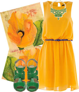 Wearing green shoes with a yellow dress