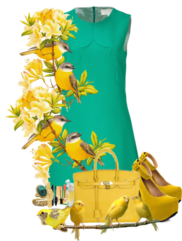 Green shoes go with a yellow dress but what about yellow shoes with a green dress?