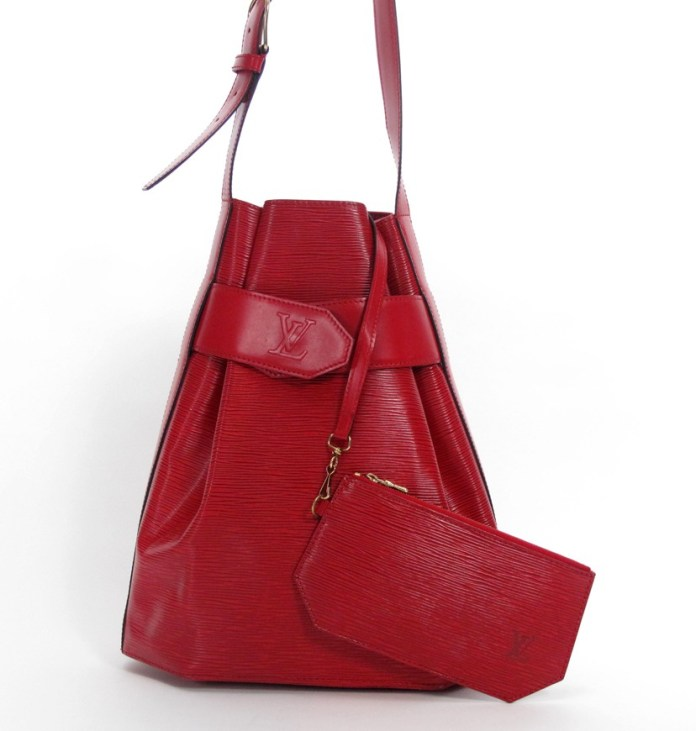 Louis Vuitton Red Epi Sac dEpaule 30 Bag with Accessory Pouch