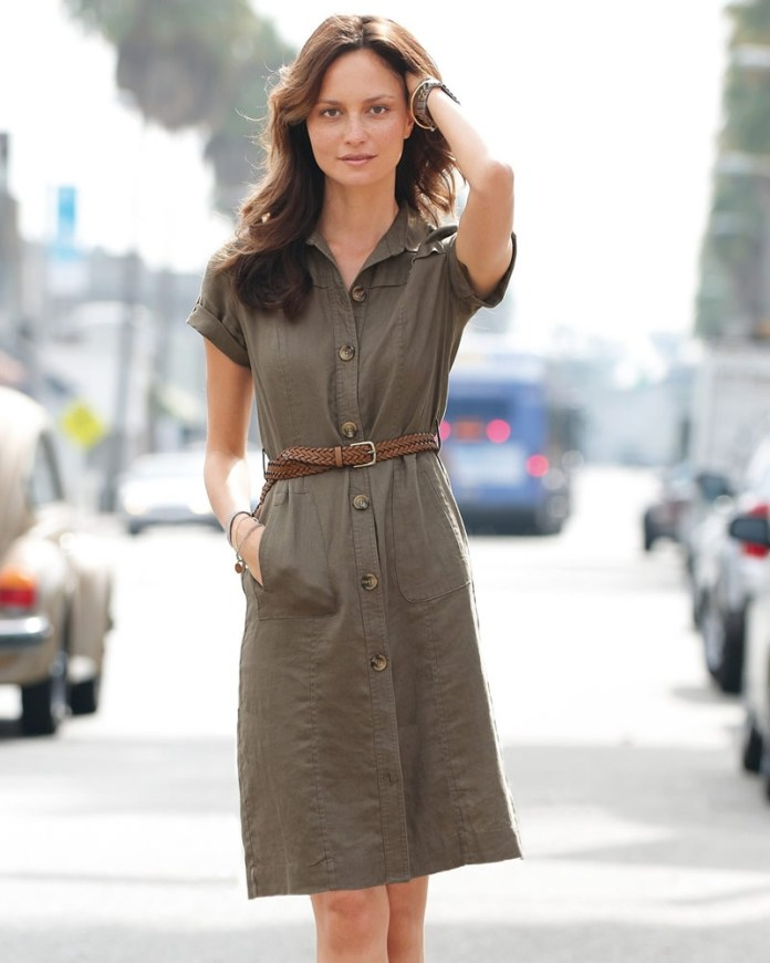 Linen shirt dress in moss color Pure Collection