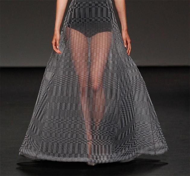 Christian Dior dark grey and light grey knitted evening dress sheer bottom