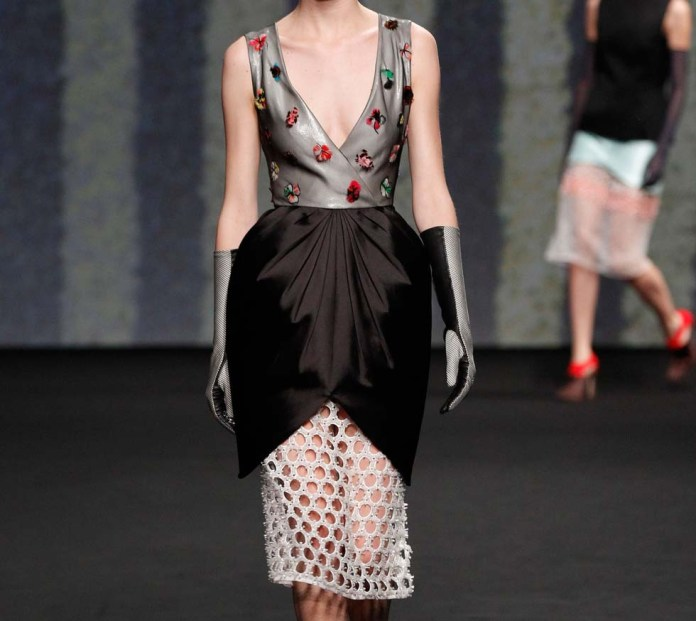 Christian Dior embroidered black and white silk dress