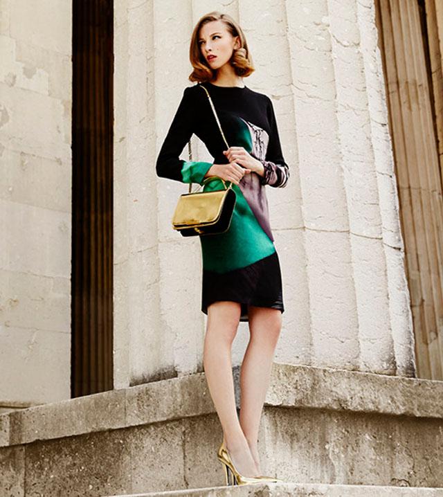 Mary Katrantzou Silk Crepe Long Sleeve Dress in Emira Emerald gold shoes gold bag