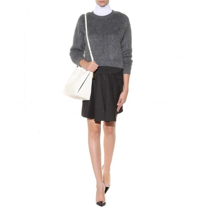 Stella McCartney grey Wool-blend sweater white wool-silk turtleneck pullover pinstripe wool-blend skirt Beckett Small faux leather shoulder bag
