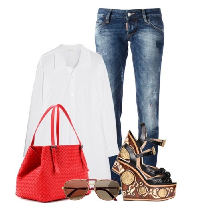 BOTTEGA VENETA RED INTRECCIATO LEATHER TOTE blue jeans white shirt cartier sunlgasses dolce gabbana wedge sandals