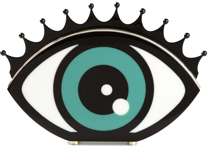 Black white and green Eye Want You clutch from Charlotte Olympia