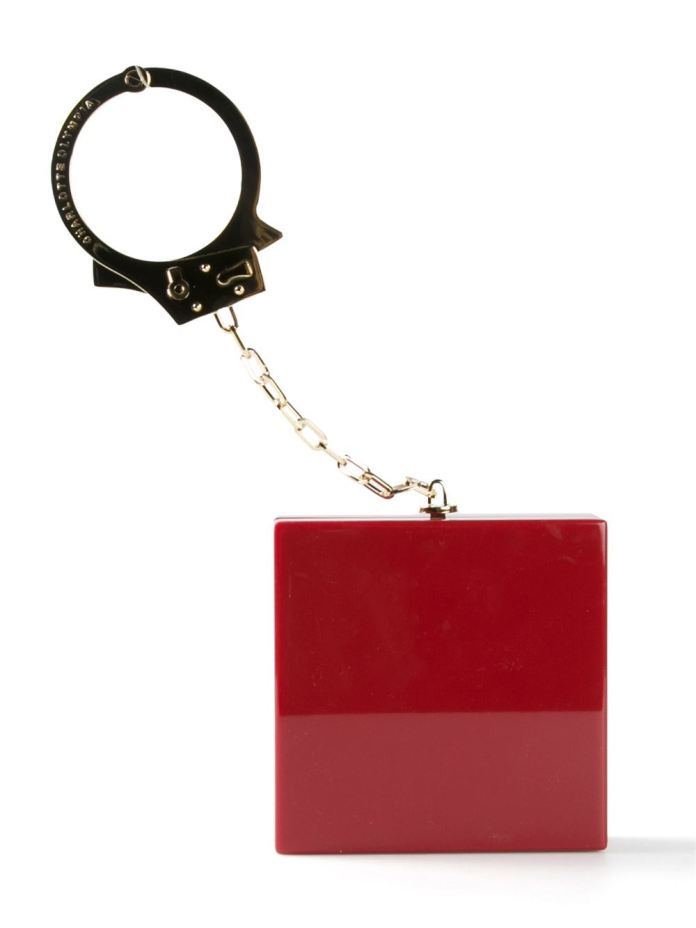Crimson red Kinky clutch from Charlotte Olympia