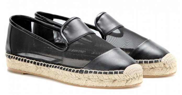 Stella McCartney Faux-leather and mesh espadrilles