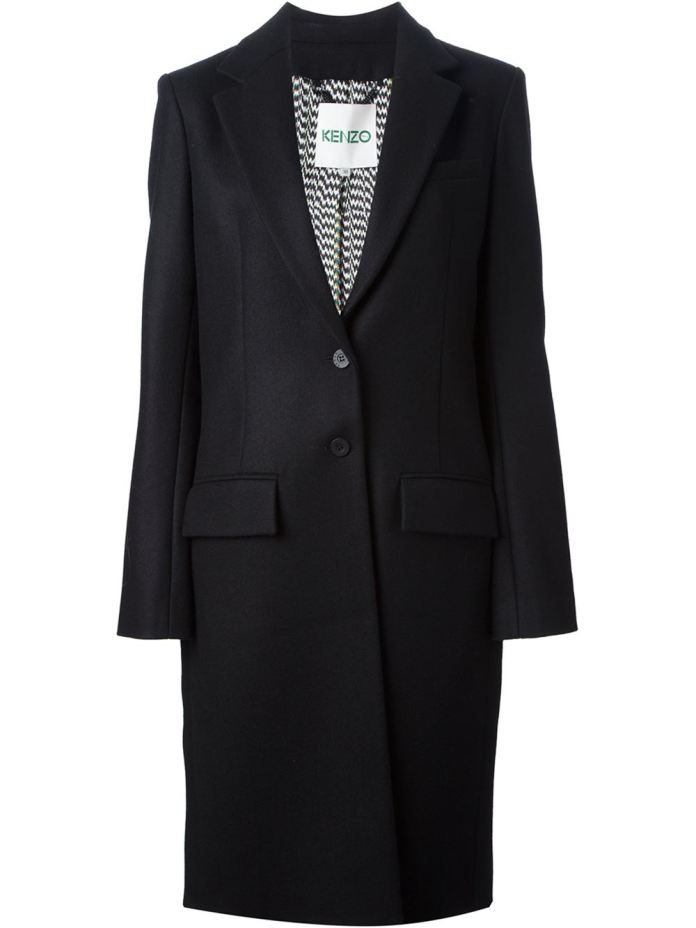 Black squirrel fur blend single breasted coat from Kenzo