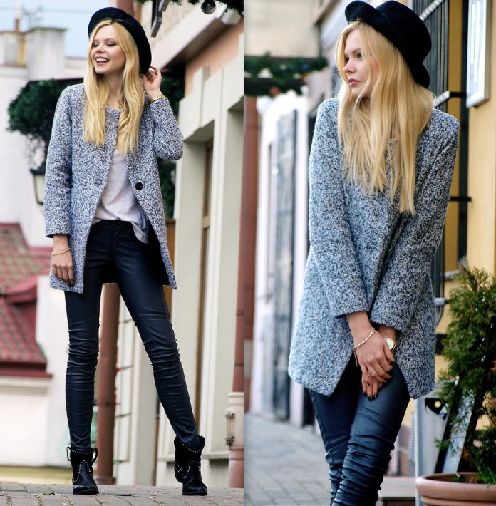 Blogger Natalia M from Poland wears a SheInside Grey Long Sleeve Single Button Tweed Coat