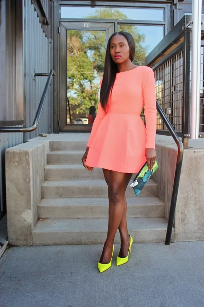 Ranti Onayemi wearing AQ AQ Beat Mini Dress with Low Back and Sleeves Valentino lemon yellow citron pumps Reed Krakoff floral pouch
