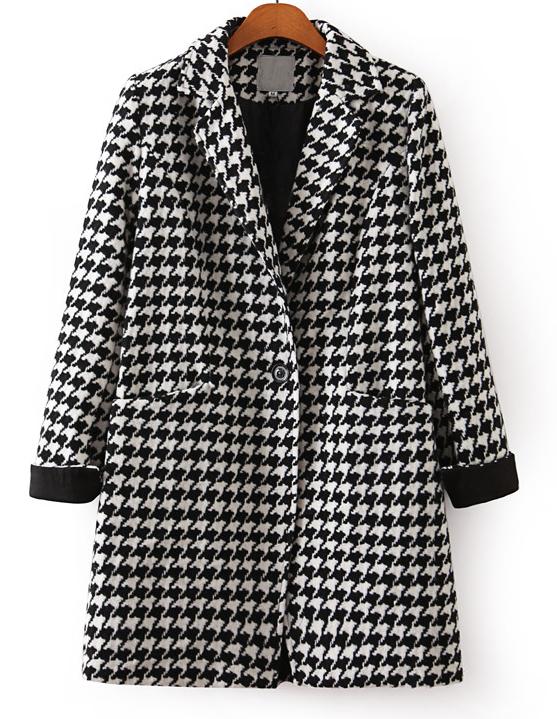 Black White Long Sleeve Houndstooth Coat