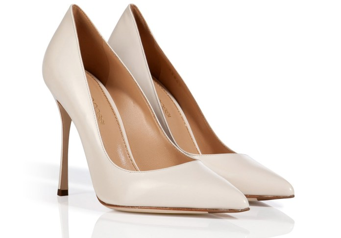 Sergio Rossi ivory white leather pointed toe pumps